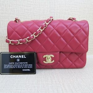 ac4dc56f513d 100% authentic Chanel square quilt mini flap bag